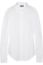 DKNY Lace-paneled stretch-cotton poplin shirt