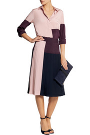 DKNY Color-block pleated crepe de chine skirt