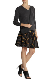 DKNY Printed boiled wool skirt