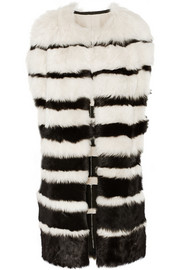DKNY Striped shearling gilet