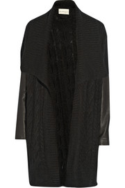DKNY DKNYpure leather-sleeved cable-knit cardigan