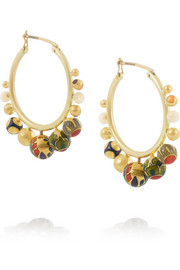 Alice Cicolini Kimono 18-karat gold opal & vitreous enamel hoop earrings