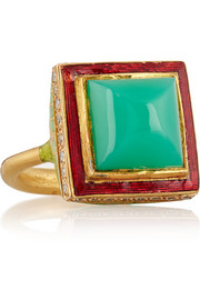 Alice Cicolini Jodhpur enameled 22-karat gold, chrysoprase and diamond ring