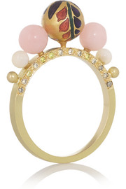 Alice Cicolini Kimono 18-karat gold, diamond and opal ring