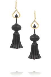 Alice Cicolini Temple 18-karat gold, ebony and  ruby stone earrings