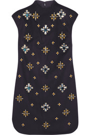 Tory Burch Carlan embellished wool-blend felt mini dress