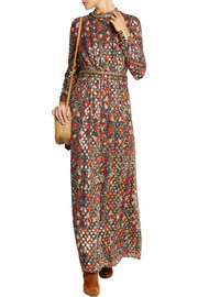 Tory Burch Leane embellished metallic silk-blend maxi dress