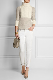 Tory Burch Gretchen fine and cable-knit turtleneck sweater