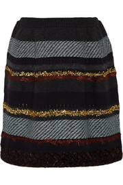 Tory Burch Danielle striped wool-blend mini skirt