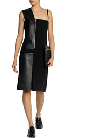Atto Leather-paneled crepe dress