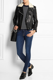 Victoria Beckham Denim Joan faux shearling-trimmed leather biker jacket