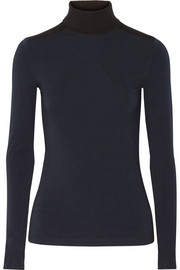 Victoria Beckham Denim Two-tone stretch-jersey turtleneck top