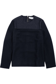 Victoria Beckham Denim Denim-paneled wool top