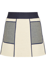 Victoria Beckham Denim Paneled denim and bouclé mini skirt