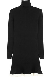 McQ Alexander McQueen Flared wool-blend turtleneck mini dress
