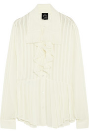 McQ Alexander McQueen Ruffled pleated georgette shirt