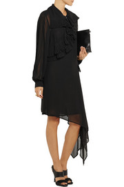 McQ Alexander McQueen Asymmetric ruffled georgette dress