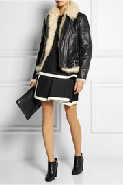 McQ Alexander McQueen Shearling-lined textured-leather biker jacket
