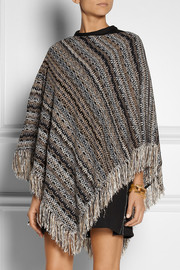 Missoni Metallic crochet-knit chenille poncho