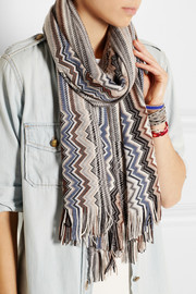 Missoni Crochet-knit wool scarf