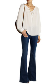 Michael Kors Ruffle-trimmed silk-georgette top