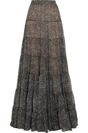 Michael Kors Tweed-print silk-chiffon maxi skirt