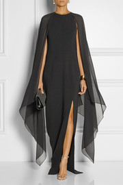 Michael Kors Stretch-wool and silk-georgette gown