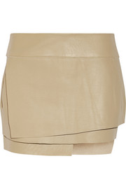 Helmut Lang Wrap-effect leather mini skirt