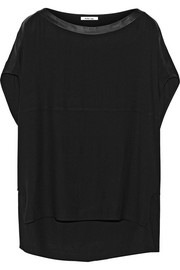 Helmut Lang Leather-trimmed crepe top