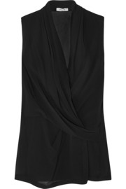 Helmut Lang Wrap-effect silk-chiffon top