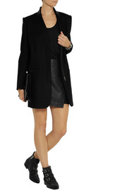 Helmut Lang Oversized leather-trimmed wool-blend blazer