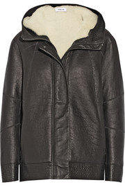 Helmut Lang Hooded shearling-lined leather jacket