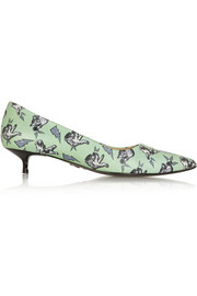 Markus Lupfer Cat Fight printed leather pumps