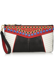 Miu Miu Biker Swarovski crystal-embellished quilted leather clutch