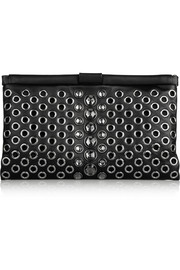 Miu Miu Eyelet and Swarovski crystal-embellished leather clutch
