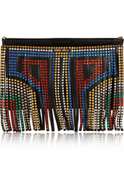 Miu Miu Swarovski crystal-embellished fringed leather clutch