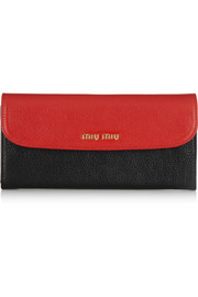 Miu Miu Madras two-tone textured-leather continental wallet