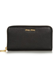 Miu Miu Madras textured-leather continental wallet