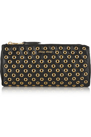 Eyelet-embellished leather pouch