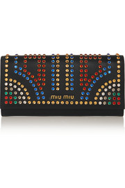 Miu Miu Crystal-embellished leather continental wallet