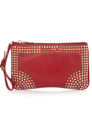 Miu Miu Crystal and stud-embellished leather pouch