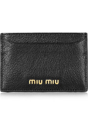 Madras textured-leather cardholder