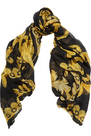 Versace Printed modal and cashmere-blend scarf