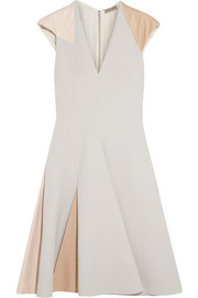 Bottega Veneta Leather-paneled crepe dress