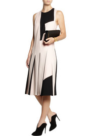Bottega Veneta Two-tone pleated wool-crepe dress