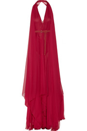 Belted silk-chiffon gown