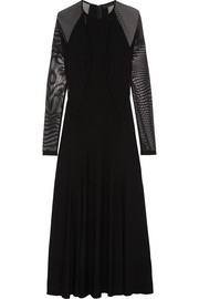 Donna Karan Mesh-paneled stretch-jersey maxi dress