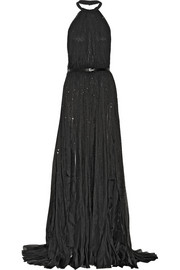 Donna Karan Embellished silk-chiffon and silk-organza halterneck gown