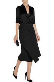 Donna Karan Layered neoprene and jersey midi skirt