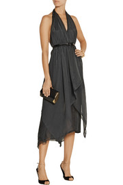 Donna Karan Silk-blend organza halterneck dress